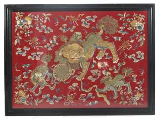 Silk embroidery, with a representation of a large and small lion (dashi xiaoshi)