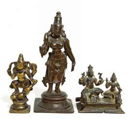 Rare double-figure, and two single figures of Shiva and Parvati