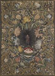 Votive silk embroidery with metal thread stitching. probably Italian, 17 in./18. Century