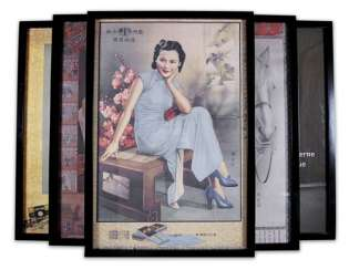 Five framed advertising posters