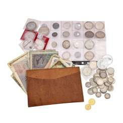 Interesting collection of coins and Bank notes, Dt. Emperor-time of Gold and silver -