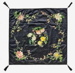 Table cloth with roses, cherries and chrysanthemums