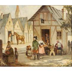 "FRANTZ, F. (painter of the 19th century), ""In front of the tavern"","