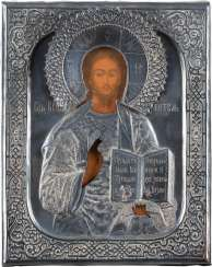 A SMALL ICON WITH CHRIST PANTOKRATOR WITH SILVER OKLAD