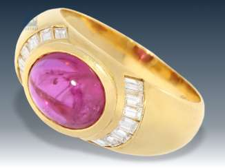 Ring: attractive, high quality ruby/diamond ring 18K Gold
