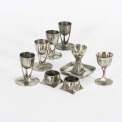8 egg cups Art Nouveau pewter