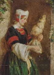 Hughes, Edward. Young woman with distaff