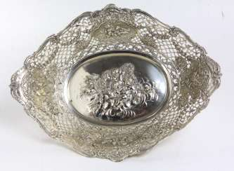 large silver bowl with Putti