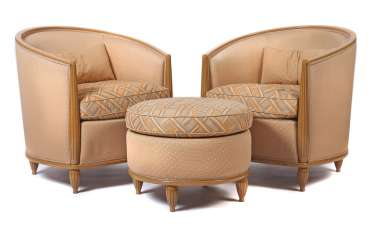 Pair of arm chair + Ottoman in Art Deco style Germany