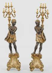 Pair of large sculpture lamps