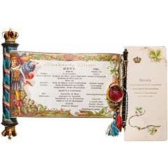 Princess Adalbert of Bavaria, menu on the occasion of the marriage of Isabel of Bavaria, with Thomas of Savoy, Nymphenburg, 14. April 1883