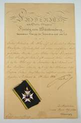 Württemberg: civil order of merit, knight's cross with certificate for captain Johann Christian v. Romig - breeding house keepers to the criminal gotteszell prison in Schwäbisch Gmünd.