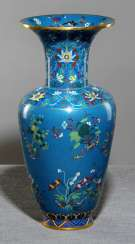 Large Cloisonné Vase with flowers, branches, and Lotus in meander-lattice