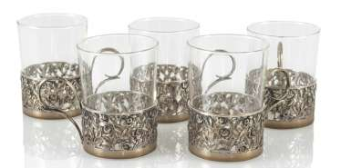 5 Tea Glasses, Silver Bracket