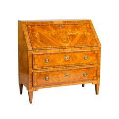 RICH INLAID LOUIS XVI WRITING CHEST OF DRAWERS