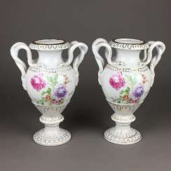 Pair of snake handle vases
