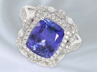 Ring: fine gold ring with brilliant/diamond trim and a tanzanite, top quality, 5,61 ct blacksmith