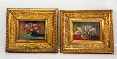 Pair of flower miniature paintings.