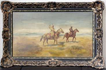 Antique painting by Franz Roubaud signed. Russia around 1880