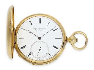 Pocket watch: early Jules Jürgensen Copenhagen gold savonnette with key winding, Anchor chronometer No. 9148, CA. 1860