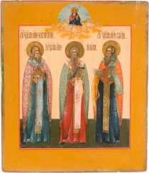 A FINE ICON OF THE HOLY CHARALAMPIOS, ANTIPAS, AND THE FEAST OF ST. BLAISE
