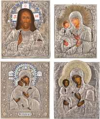 FOUR ICONS WITH OKLAD: MIRACULOUS IMAGES OF THE MOTHER OF GOD AND CHRIST PANTOCRATOR