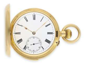 Pocket watch: heavy gold savonnette minute repeater, interesting Swiss work in English, design, high-fine precision caliber, signed JL No. 19652, CA. 1880