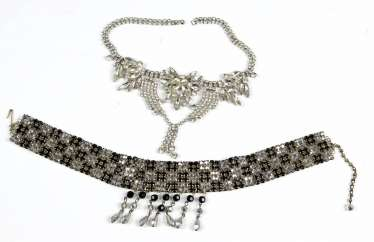 2 Statement Necklaces with rhinestones