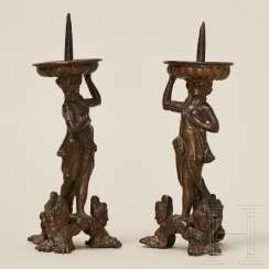 A pair of bronze figure candlesticks, Italy, 16th century