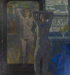 BRAGOVSKY, EDUARD (1923-2010) Nude in Front of the Mirror , signed and dated 1981, also further signed, titled in Cyrillic and dated on the reverse.