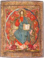 A BIG ICON WITH THE ENTHRONED CHRIST