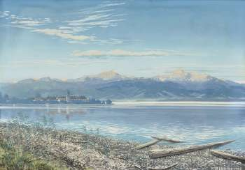 Chiemsee shore with a view on the island , Reschreiter, Rudolf 1868 in Munich - 1939, ibid.