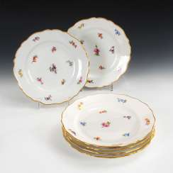 2 + 4 plates with flower painting, MEISSEN