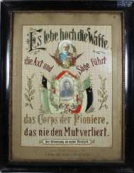 Embroidered reservists picture Bavarian pioneers, with Original signatures, and the framework,