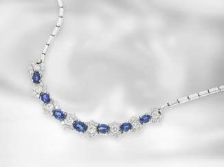 Chain/necklace: elegant, hand-crafted, vintage sapphire/part-brilliant-medium-Collier, about 7.8 ct, 18K white gold