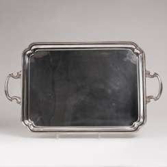 Large silver tray with volute handle