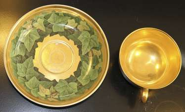 Cup and saucer with a pattern of grape leaves, KPM, mid XIX century