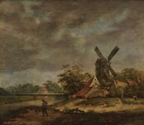 Netherlands 17./18. Century, village landscape with windmill