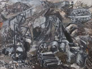 Silberberger, Adolf Stuttgart 1922 - 2005 ibid, painter and graphic artist, studied at the Stuttgart Academy with Baumeister, Gollwitzer, Meid and Henninger. '' Construction site Neckarhafen Stuttgart ''