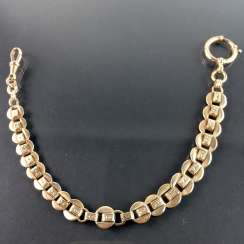 Wide watch chain / chain for pocket watch: a yellow gold 333, worked, around 1900, very nice.