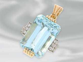 Trailer: a very decorative vintage pendant with brilliant finishing, as well as a large aquamarine of approx. 22ct