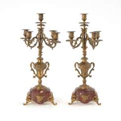 Pair of 5-lamp candelabra with marble bases.