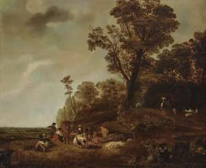 Landscape with figures and animal decoration