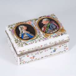 Rare porcelain box with portrait in relief