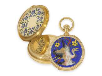 Pocket watch: unique Gold/enamel pocket watch for the Chinese market, with Cloisonné-enamel,