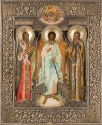 LARGE-FORMAT ICON WITH THE GUARDIAN ANGEL AND THE SAINTS ANTIPAS AND KIRILL