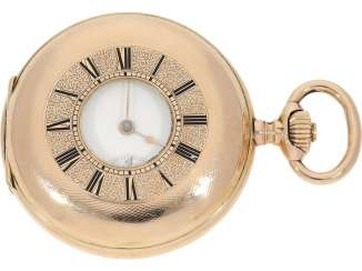 Pocket watch: very beautiful and well-preserved, 14K Gold half-savonnette of the IWC brand from the year 1891, with the master excerpt from the book