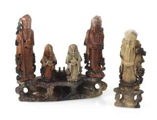 GROUP OF SOAPSTONE FIGURES,