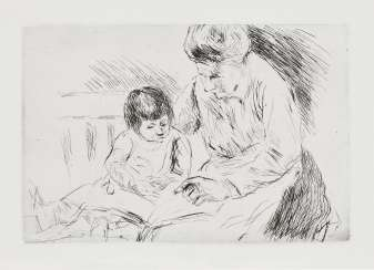 Nurse with child on a garden bench in the picture book to look at.