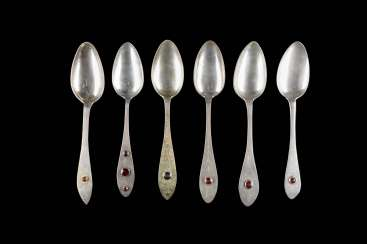 COLLECTION OF SIX NORTH GERMAN BIEDERMEIER DINING SPOONS